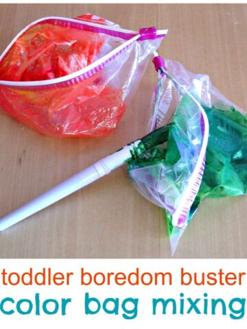 Sensory bag and color mixing for toddlers