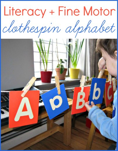 Combine fine motor and literacy with a clothespin alphabet