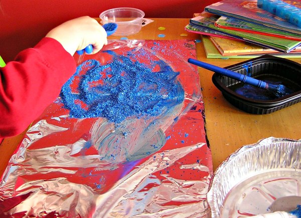 Shiny art themed project using glitter and foil