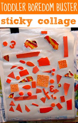 Sticky collage art is a great toddler boredom buster.