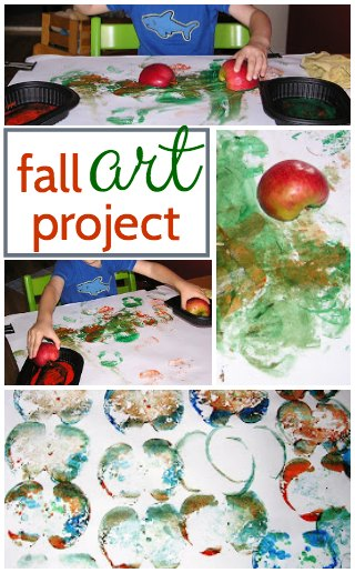 Classic fall art project and apple craft for kids.