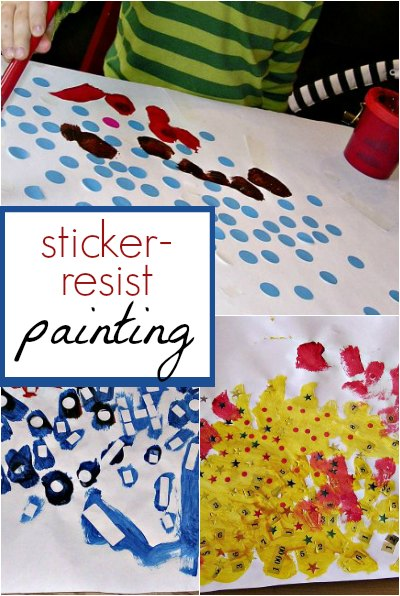 Use stickers to explore a resist painting technique with kids