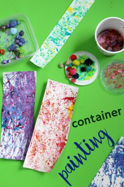 Fun active art project for kids. Shaken container painting