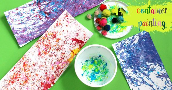 Shaken container paint art project for kids.