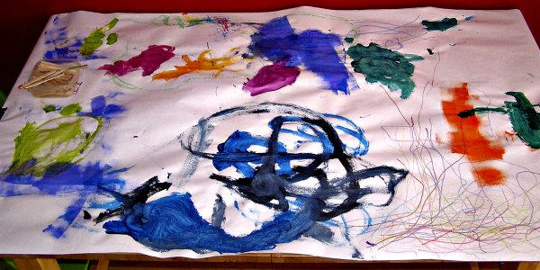 Paint on the table - great open ended art boredom buster