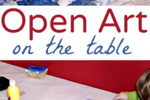 Open ended art on a paper covered table is a great boredom buster for kids