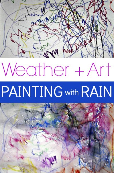 Painting with rain and watercolors. Great fun for a dreary weather rainy day!