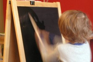 Chalkboard art with water painting