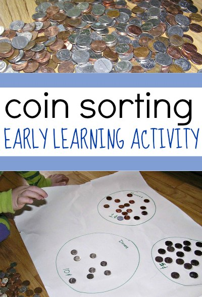 A coin sorting activity is an easy, no prep money activity for kids!