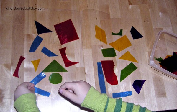 Easy faux stained glass art for kids using cellophane
