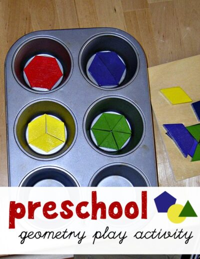 Preschool geometry lesson with pattern blocks and a muffin tin also teaches about fractions.