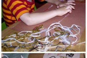 fine motor art project with yarn