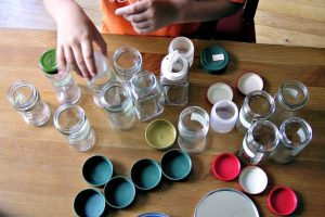 Practice fine motor skills with this cap and bottle match activity