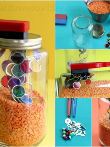 How to make a magnet busy jar for kids to learn about science.