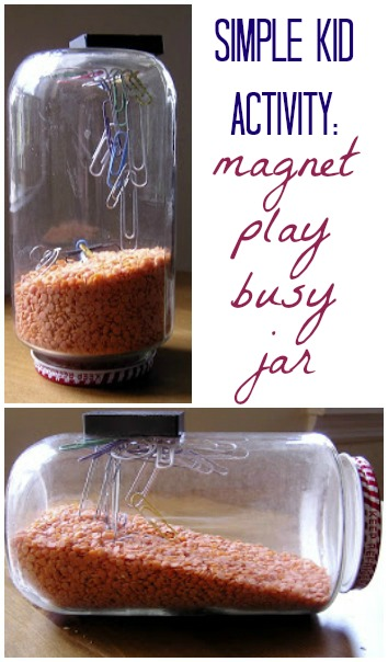 Easy activity! Keep your kids busy with a simple magnet play jar.