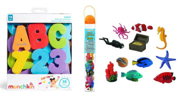 colorful bath letters in box next to plastic sea animal toys