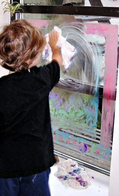 Teaching kids to be window washers