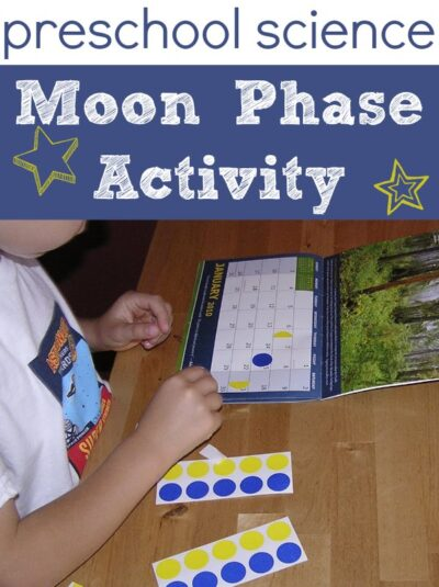 Moon phase activity for kids using stickers and a calendar