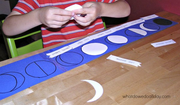 Moon phase activity puzzle for kids using self-correcting Montessori method