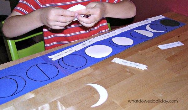 Moon phase activity puzzle for kids using self-correcting Montessori method
