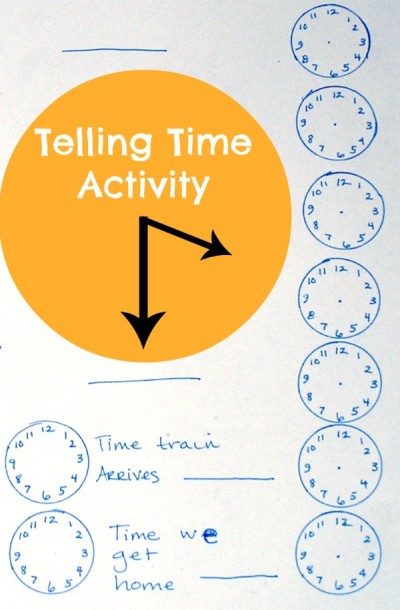 Telling time activity to teach about the passage of time.