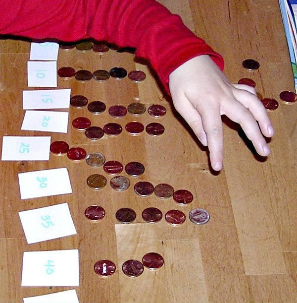 Skip counting activity with pennies