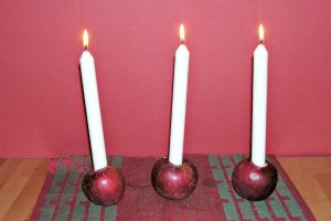 Apple candle holders