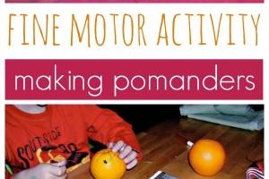 Fine motor skills practice with pomanders