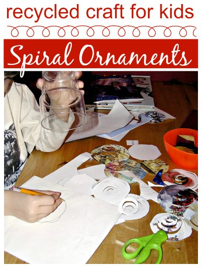Upcycle old cards into spiral ornaments; an easy holiday craft for kids