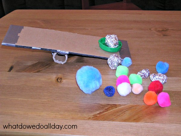 DIY catapult made from recycled materials.