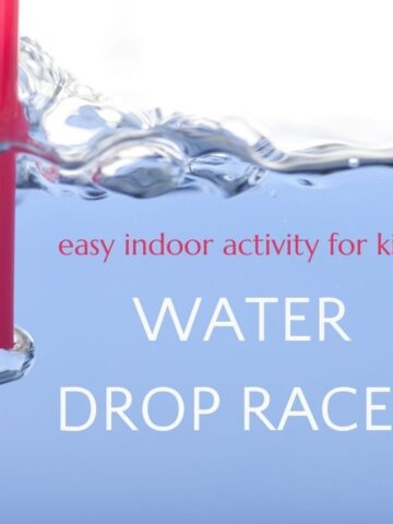 """red straw in water with text """"easy indoor activity for kids: water drop races"""""""