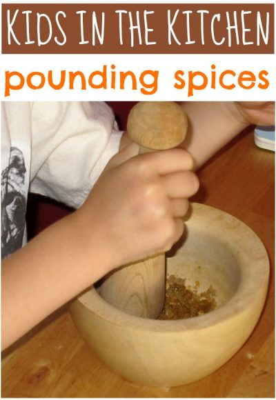 Kids love to pound spices! Fun way to help in the kitchen.