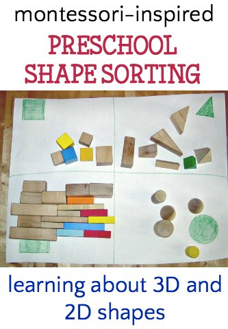 Shape sorting activity with Montessori geometric solids