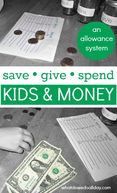 Allowance for children to help them save and give as well as spend