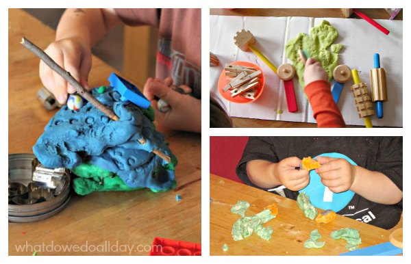 Making and playing with play dough as preschool activity to build STEAM and STEM skills.