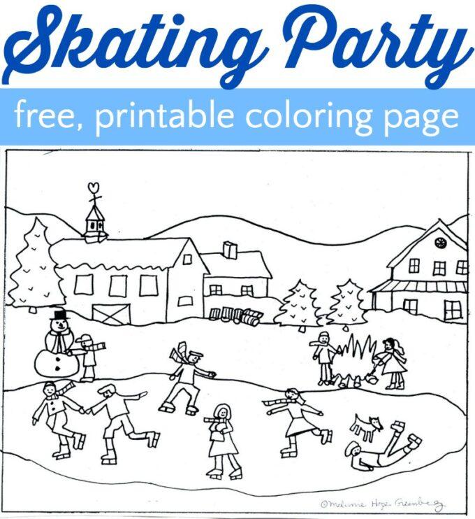 Skating coloring page