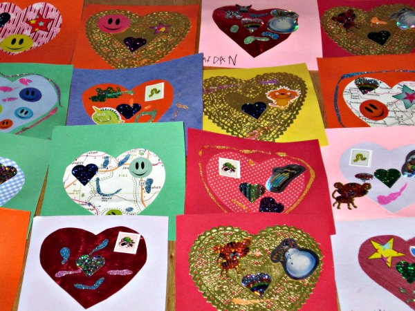 Easy handmade valentine card idea for kids to make on their own.