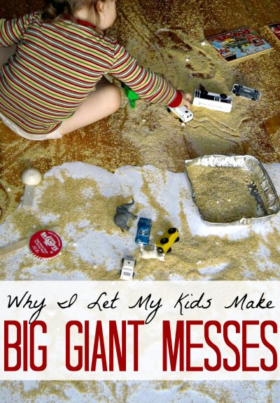 Letting your kids make a mess indoors can actually lower stress levels.