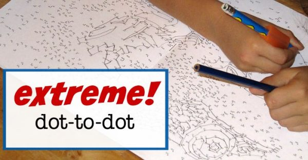 Great boredom buster: extreme dot to dots keeps kids busy for a looooong time.