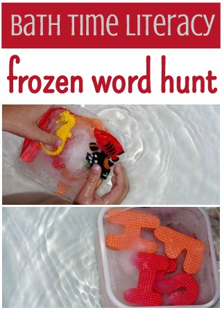 collage of two photos of frozen toys in the bath