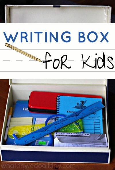 A writing box helps build a love of writing. Love what they included.