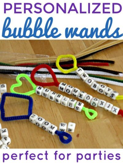 Homemade pipe cleaner bubble wands. Personalize them for parties.