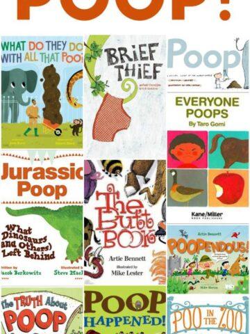 Children's fiction and nonfiction books about poop