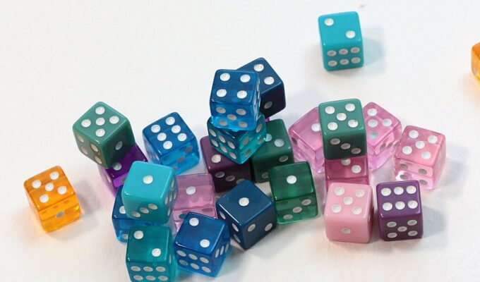 Pile of multicolored dice as tools for math games