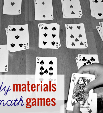 Playing diy math game with playing cards