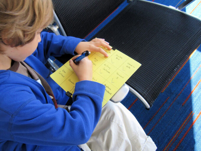 working on airplane scavenger hunt