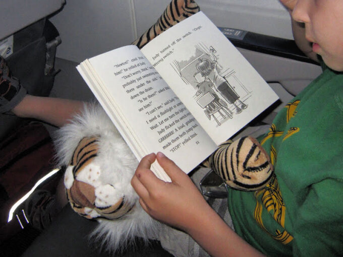reading the stink book series on an airplane