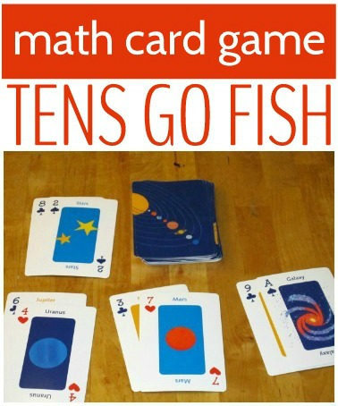 Play Tens Go Fish for a math twist on the traditional card game for kids.