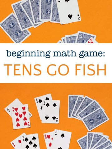Beginning math card game called tens go fish