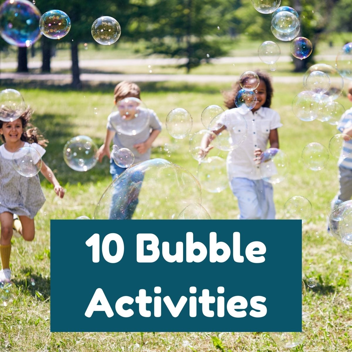 Children running after bubbles